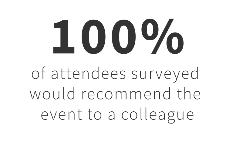 100 percent of conference attendees would recommend the event to a colleague