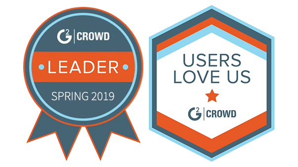 G2 Crowd Spring 2019 Leader and Users Love Us badges