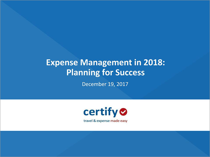 Expense Management in 2018: Planning for Success