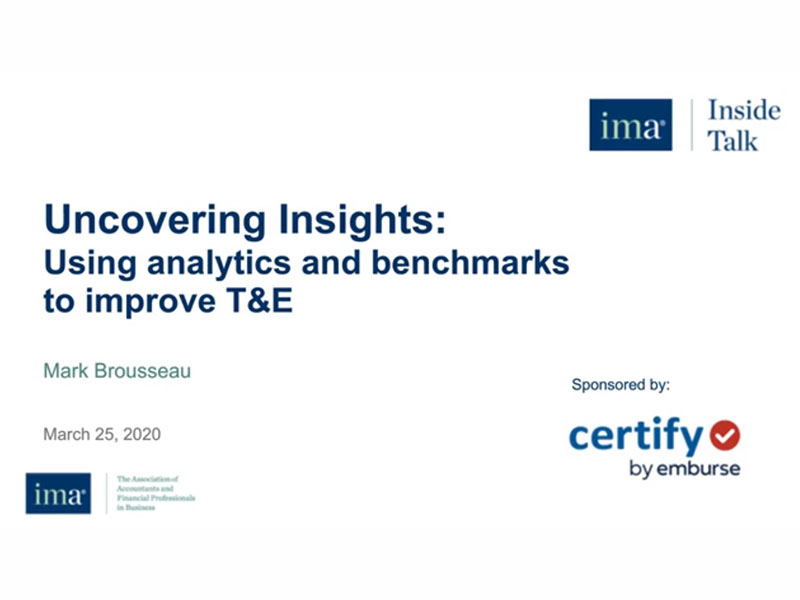 Uncovering Insights: Using analytics and benchmarks to improve T&E