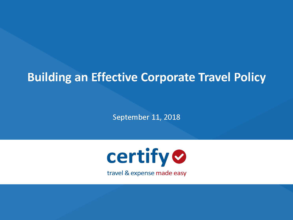 Building an Effective Corporate Travel Policy