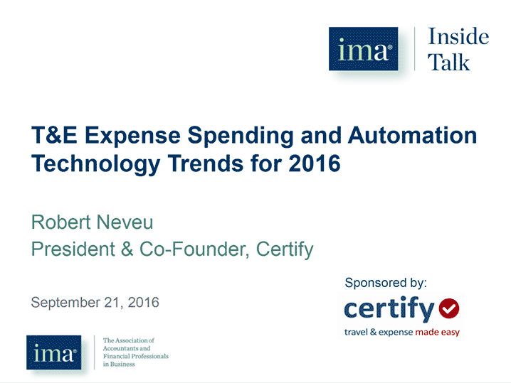 T&E Expense Spending and Automation Technology Trends for 2016