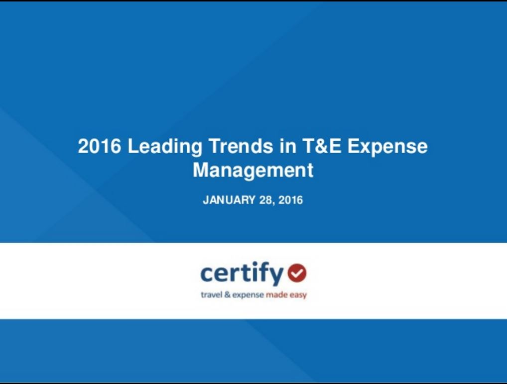 2016 Leading Trends in T&E Expense Management