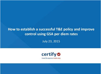 How to Establish a Successful T&E Policy Using GSA Per Diems