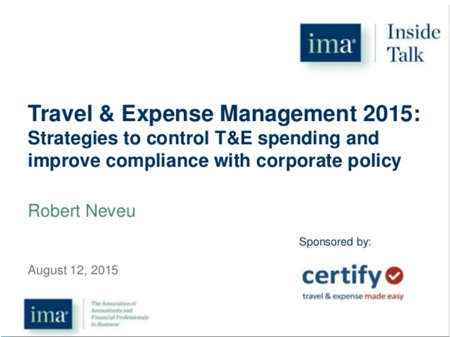 Strategies to control T&E spending and improve compliance with corporate policy