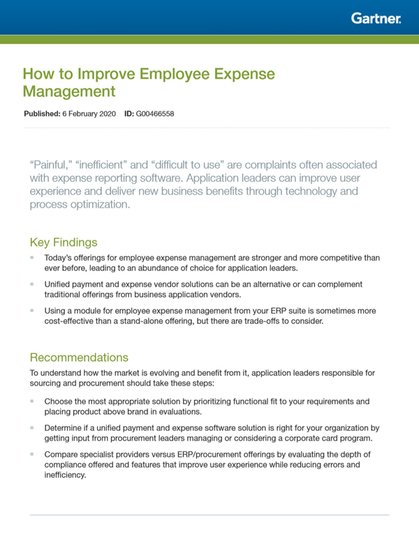 Gartner Report 2020: How to Improve Employee Expense Management