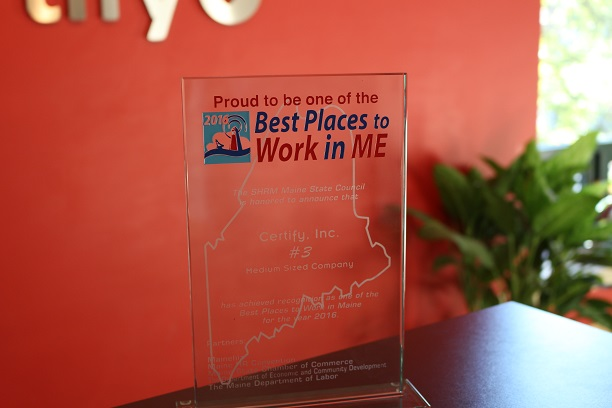 Certify Ranks #3 for Best Places to Work in Maine