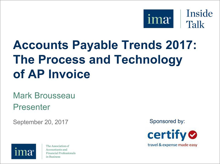 Recorded Webinar: Accounts Payable Trends 2017: The Process and Technology of AP Invoices