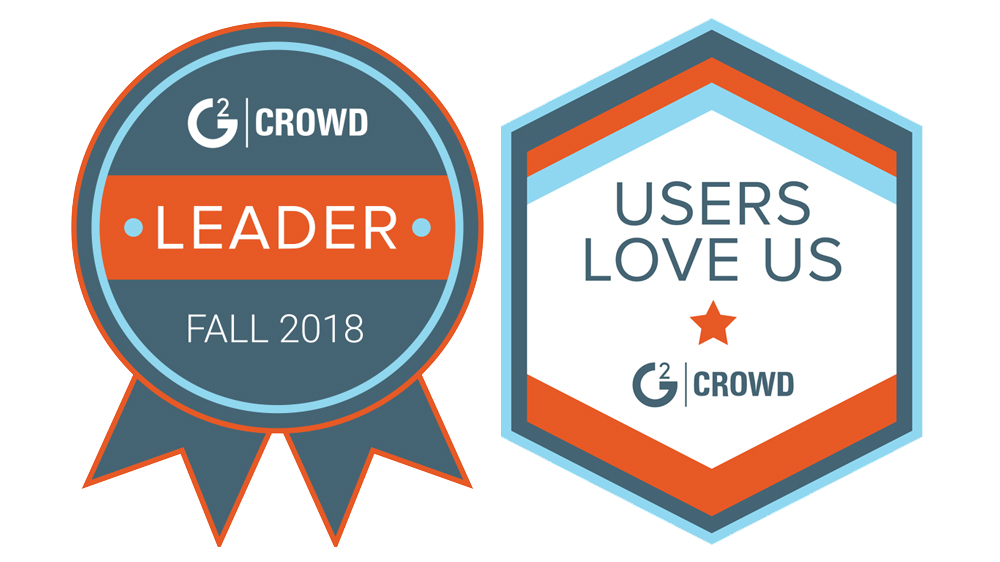 G2 Crowd Fall 2018 Leader and Users Love Us badges