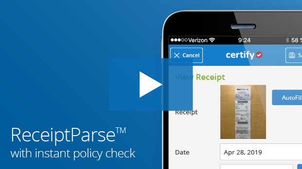 Certify Mobile ReceiptParse Starbucks
