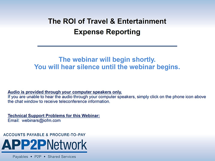 Recorded Webinar: The ROI of Travel and Entertainment Expense Reporting