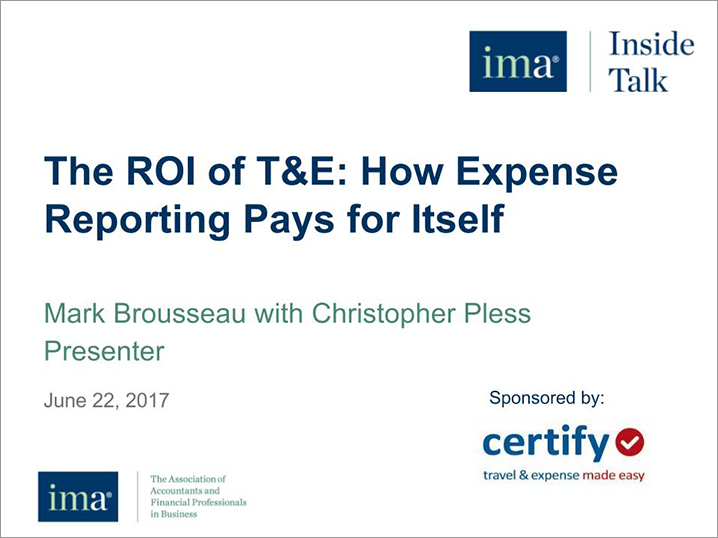 Recorded Webinar: The ROI of T&E: How Expense Reporting Pays for Itself
