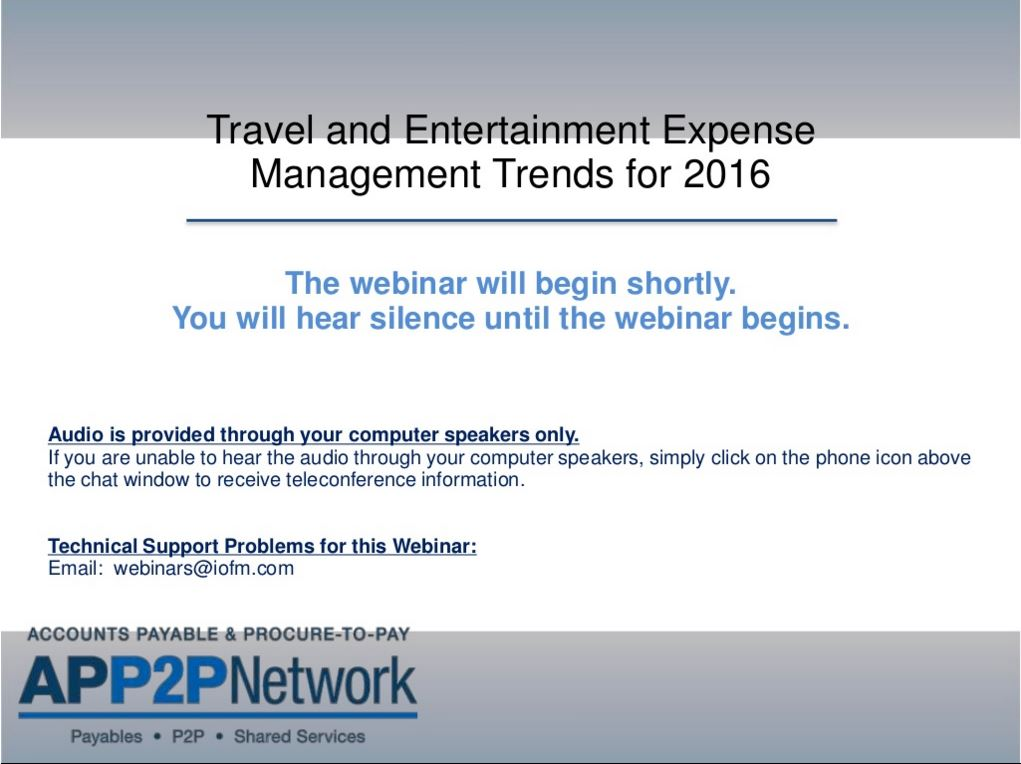 Travel and Entertainment Expense Management Trends for 2016