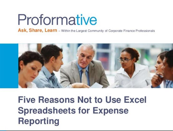 Five Reasons not to use Excel Spreadsheets for Expense Reporting