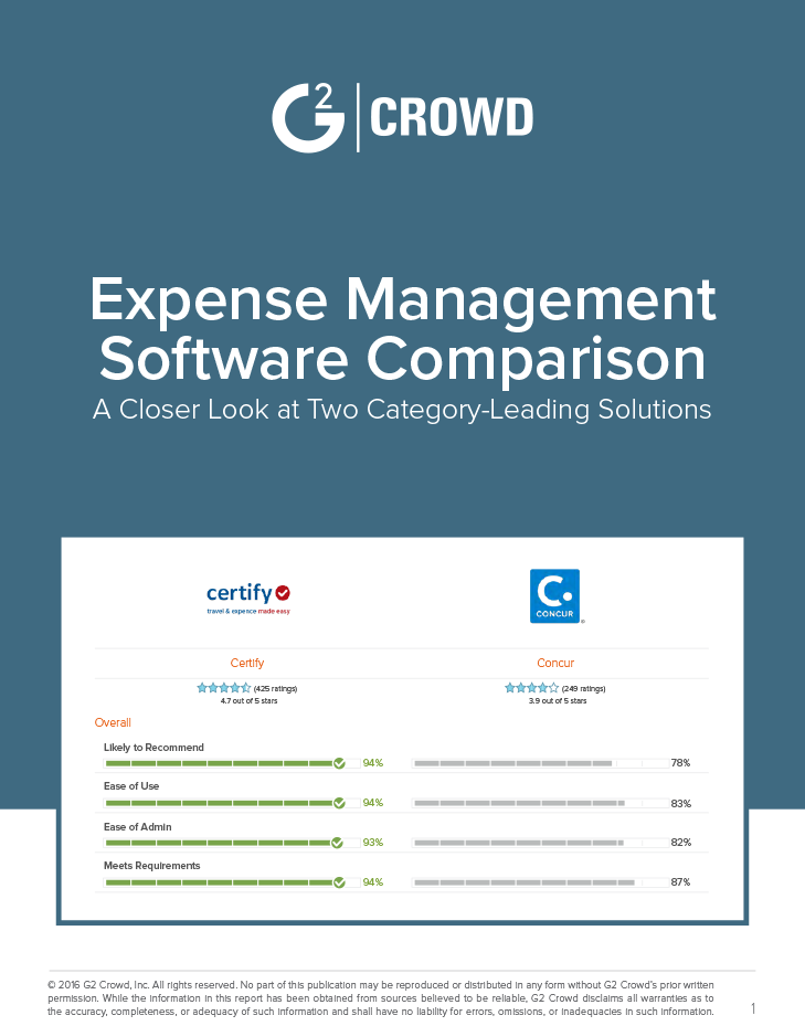 G2 Crowd: Expense Management Software Comparison